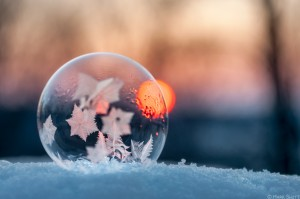 Ice bubble sunset